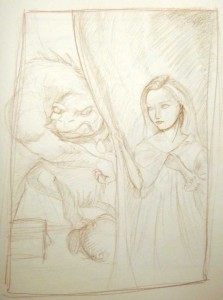 Initial sketch for Beauty and the Beast